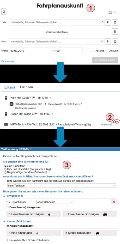 """1. Fahrplanauskunft, 2. Link """"Tarifberater"""", 3. Reiseprofil eingeben"""