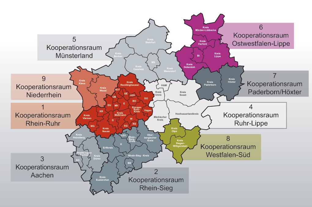 Abgrenzung der ÖPNV-Kooperationsräume bis 2007