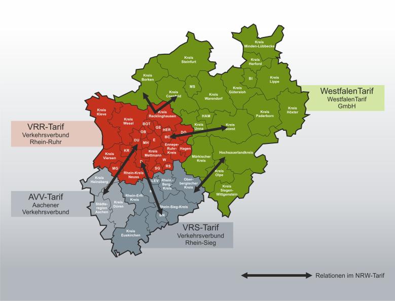 Eine Übersicht der verschiedenen Relationen innerhalb des NRW-Tarif-Gebietes.