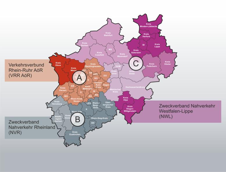 Abgrenzung der ÖPNV-Kooperationsräume in NRW ab 2008